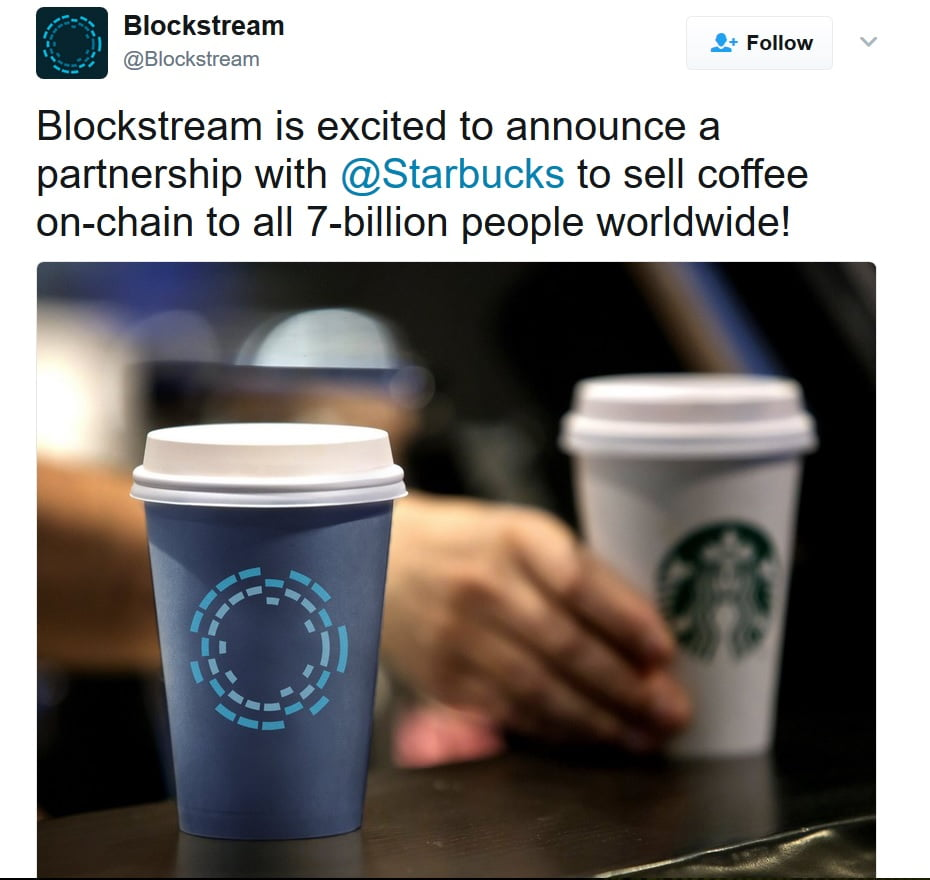 Blockstream ogłosili współpracę z Starbucks oparciu o blockchain