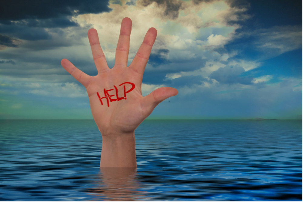 dłoń, help, ocean