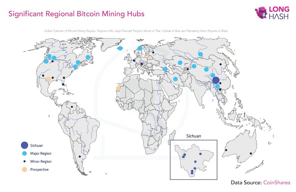 mapa hashrate bitcoina