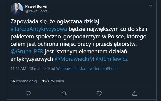 Tarcza antykryzysowa. Na tym zdjęciu z serwisu twitter profil Paweł Borys widniejejego opinia.