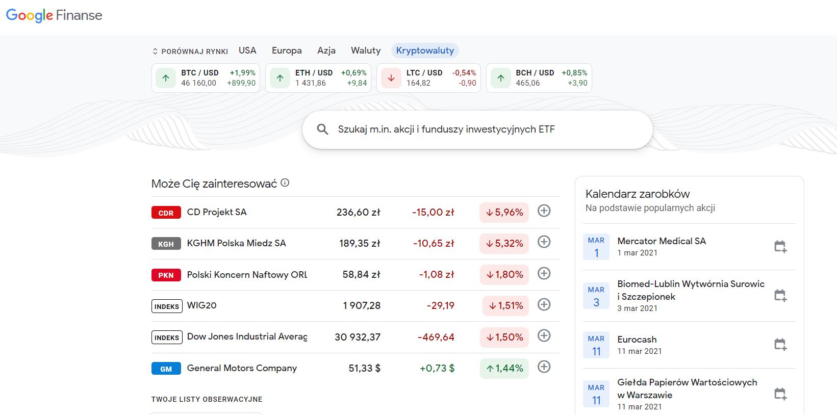 google finanse